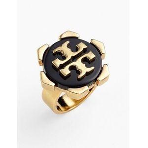 Tory Burch 'Walter' T Logo Gold & Black Ring